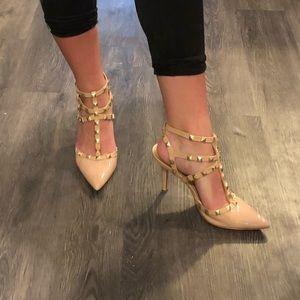 Nude stud pointed toe strap heels